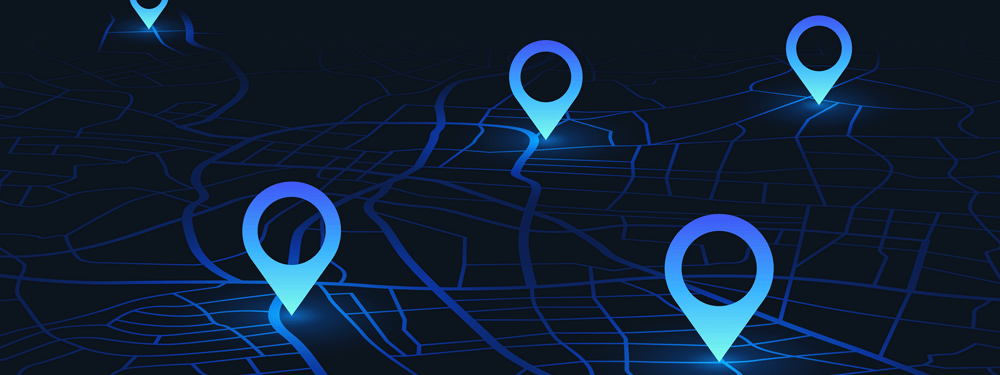 Blue location icons on map