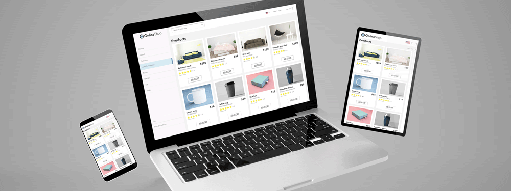 Three devices showing an online store