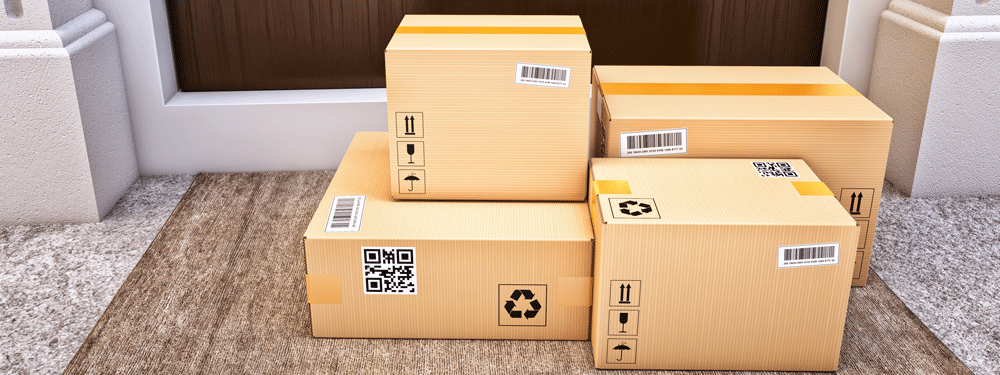 Packages sitting in front of a door