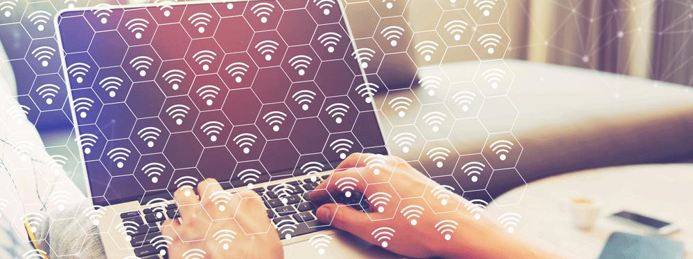 Wifi signals surrounding a laptop