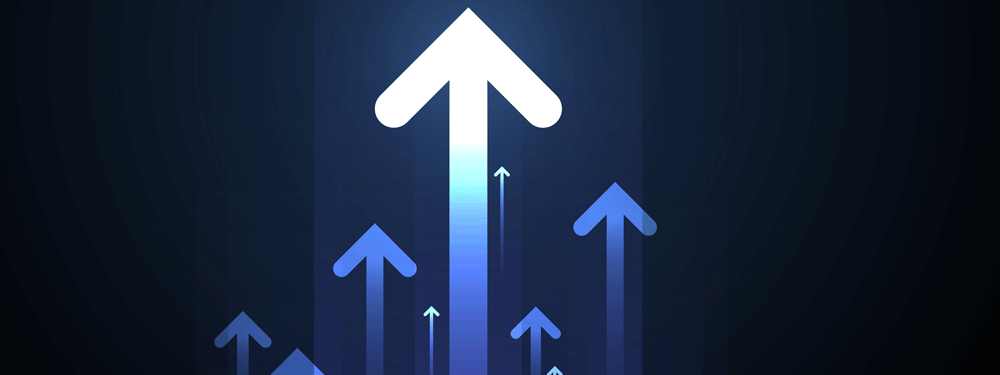 Light blue arrows pointing up