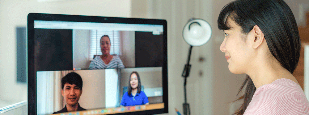 Woman participating in a work video call