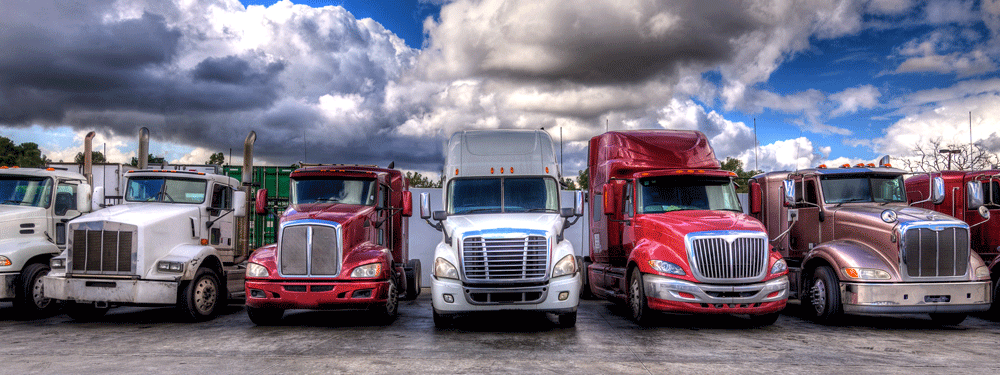 Line of parked semis