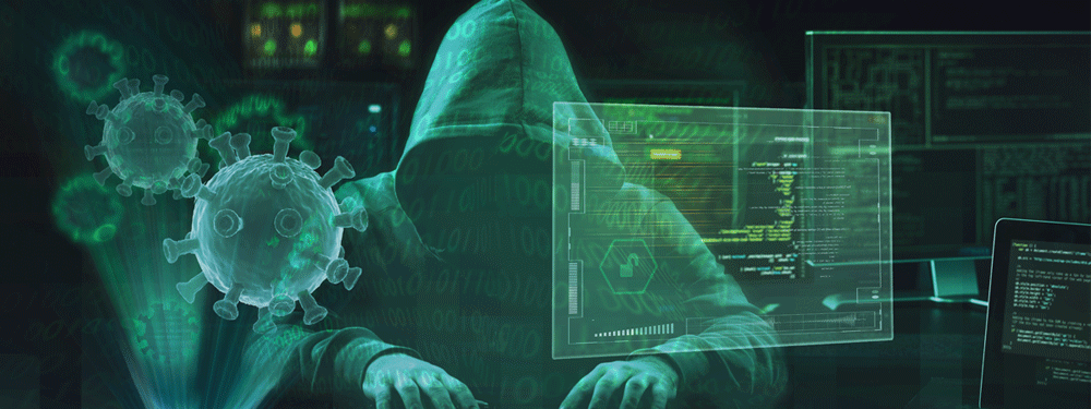 Hacker hacking computers during a pandemic