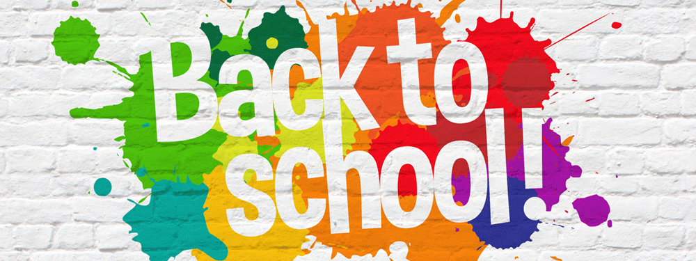 Back to school painted on a wall