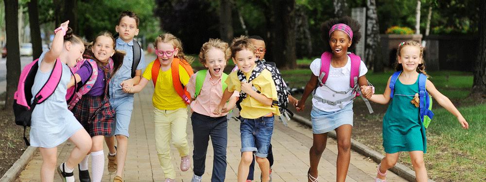 Happy group of kids at school