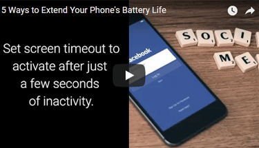 Video of phone showing Facebook and battery life