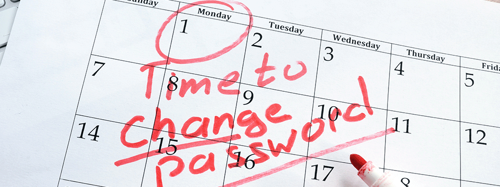 Time to change password written on red on a calendar