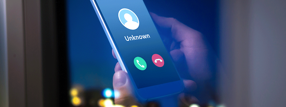 Robo call unknown caller scam on smartphone
