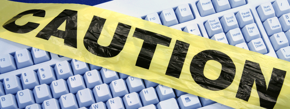 Caution tape on keyboard