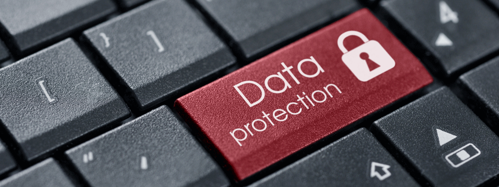 Data protection button on black keyboard