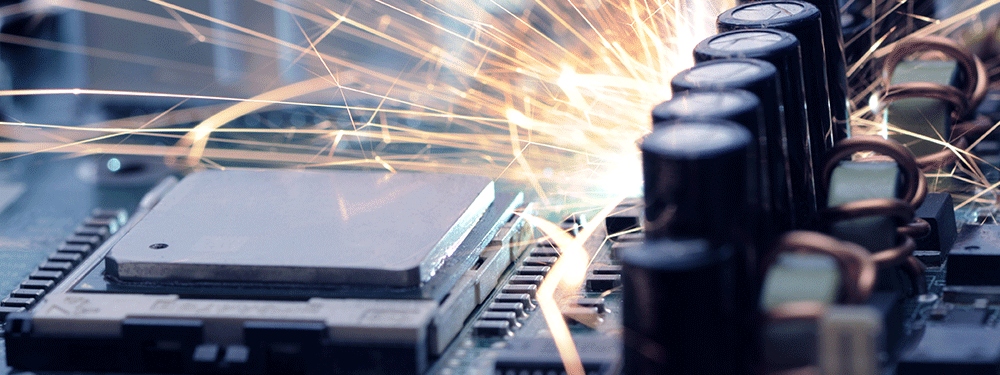 Electronic overheating with sparks