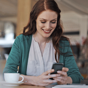 Business woman using app for business