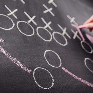 Game plan on chalkboard