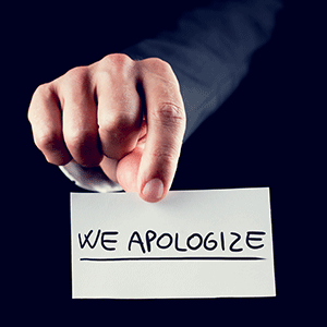 We apologize sign