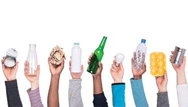 Hands Raised with Recyclables Featured