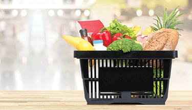 Grocery basket with fresh foods Featured