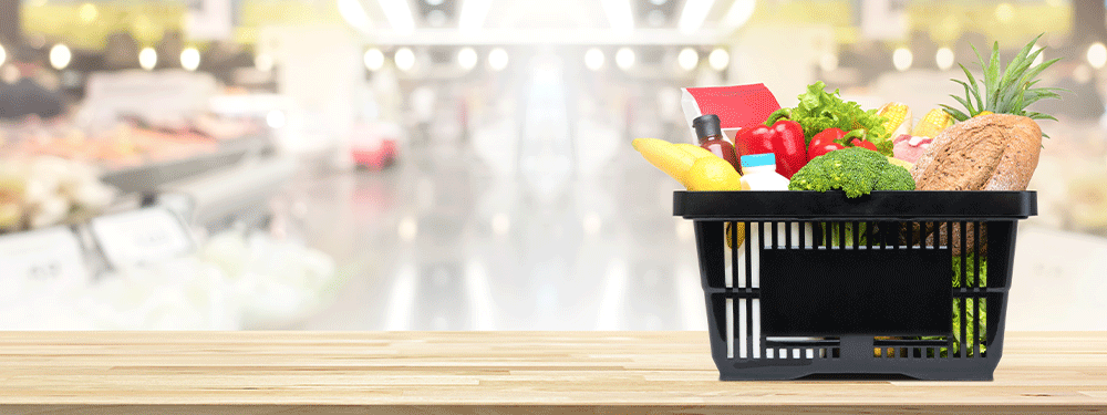 Grocery basket with fresh foods