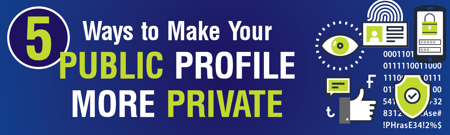 Ways to make your public profile private. Infographics in blue and green
