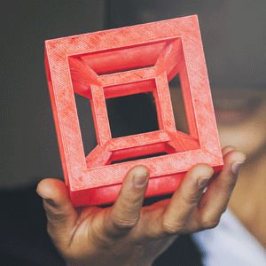 Person holding a red 3D printed cube