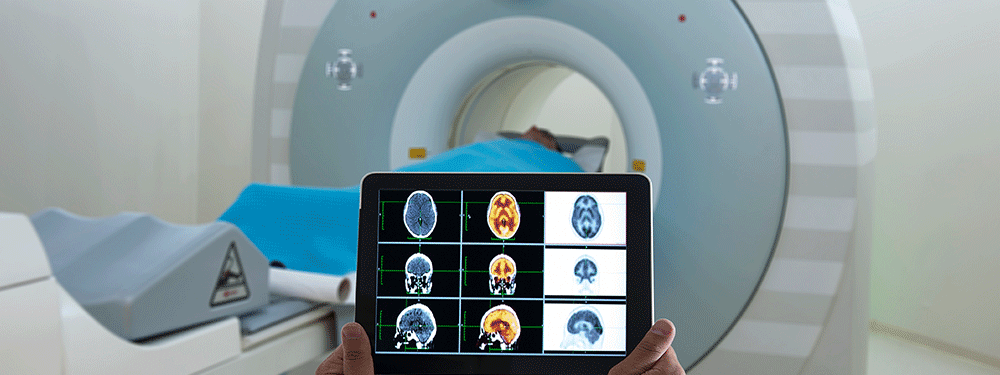 CT scan on a tablet