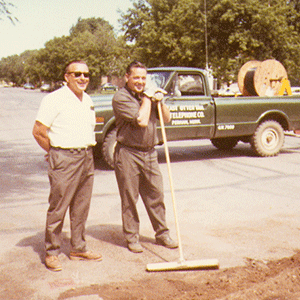 Two men working construction old photo