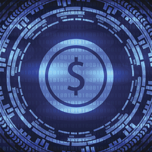 Blue dollar sign surrounded by data