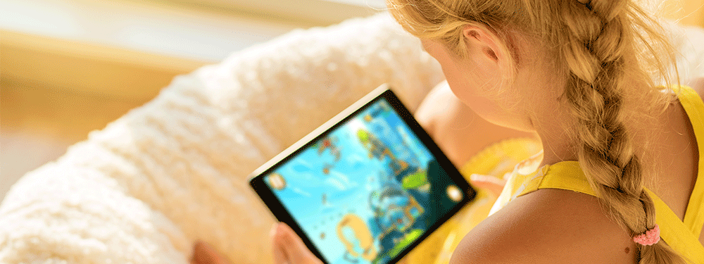 Girl on tablet screen time