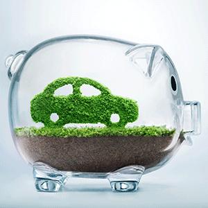 Electric car green energy money saving