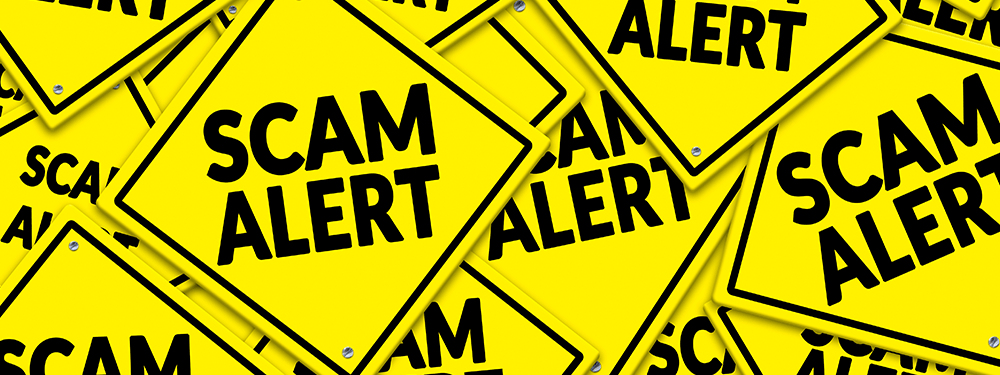 Scam Alert on Yellow signs