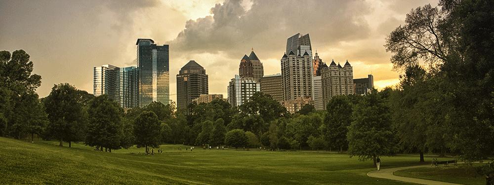 City of Atlanta Skyline View From Park