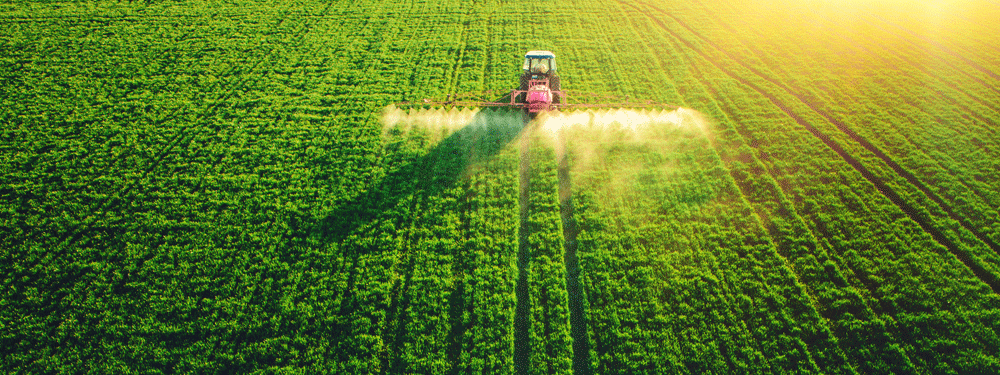 Tractor working on a crop field