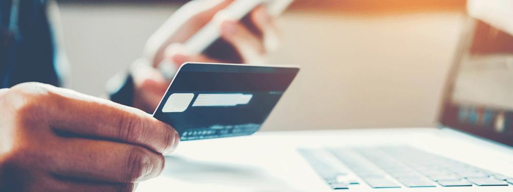 Man paying bill online