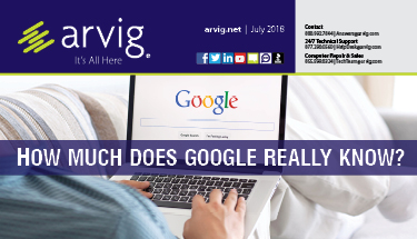 Arvig newsletter with man on couch searching Google on laptop