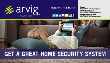 Arvig newsletter with woman laying on floor with tablet