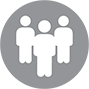 Three people standing icon call center